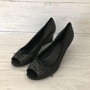 🎉Gucci Soho Leather Peep Toe Wedges